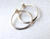 Micro Solid 14k White Gold Hoops -  3/8 Inch Hand Forged Solid Gold Hoops – 14 Karat White Gold Hoop Earrings