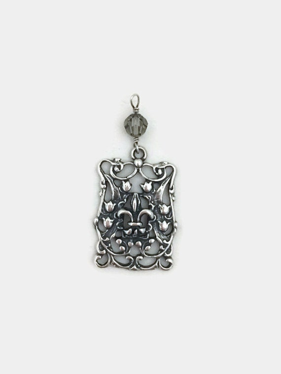 Fleur-De-Lis Pendant Necklace - Sterling Silver - Square, Ornate - Lily Flower