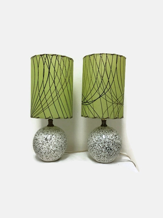 Two Small Mid Century Modern Lamps - Speckled Black & White - Round - Green Lampshade