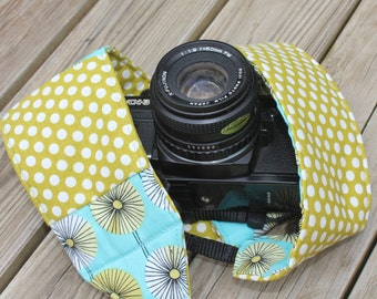 Monogrammed Camera Strap For DSL Retro Turquoise Floral Print With Green Polka Dot Reverse and Lens Cap Pocket