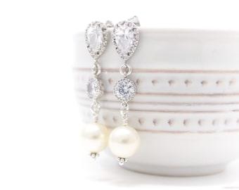 Bridal Earrings Rhinestone and Pearl Long Drop Wedding Earrings