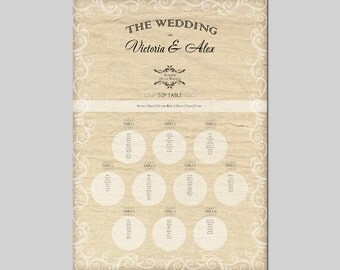 Personalised Wedding Table Plan | SEATING PLAN Table Planners A2