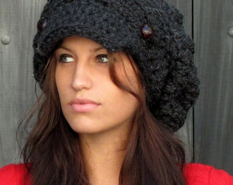 Slouchy Hat Winter Hat Womens Newsboy Hat Wool Cap Chunky Hat Gifts for Her Two Button Band Slouchy Cap Charcoal Gray or CHOOSE Your color
