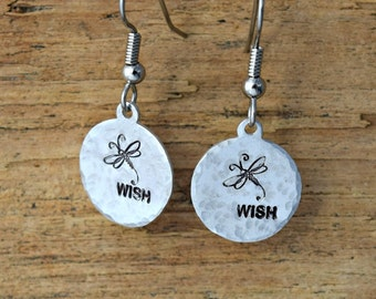 Dragonfly Wishes - Metal stamped Jewelry - Hand Stamped Jewelry - Metal Stamped - Dragonflies