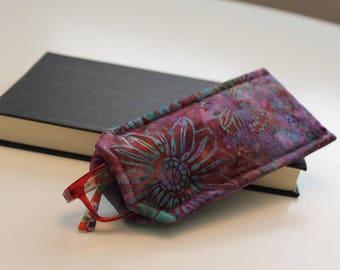 Eyeglasses/Sunglasses Case-Purple and Turquoise Flower Batik
