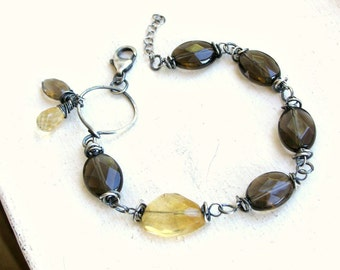 Citrine and Smoky Quartz Bracelet in Oxidized Sterling Silver