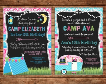 Girl Glamping Sleepover Camp Glamp RV airstream tent lights Party Birthday Invitation - DIGITAL FILE