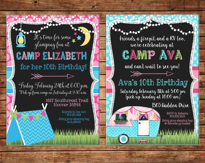 Girl Invitation Glamping Tent Airstream RV Birthday Party - Can personalize colors /wording - Printable File or Printed Cards