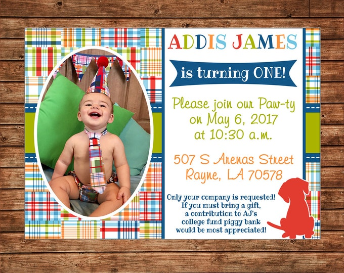 Boy Photo Picture Puppy Dog Madras Plaid Baby Shower Birthday Party Pawty  Invitation - DIGITAL FILE