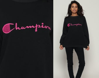 Champion Sweatshirt Black 90s Plain Crewneck Pullover Jumper Spellout 1990s Grunge Long Sleeve Hot Pink Slouchy 1980s Vintage Medium