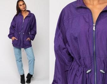 Anorak Jacket REEBOK Jacket 90s Windbreaker Jacket Purple DRAWSTRING WAIST Sports Hipster Vintage 80s Large