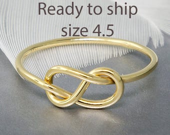 Ready to ship - size 4.5 - 14k yellow gold infinity figure 8 knot ring