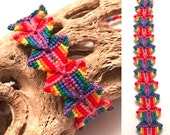 Friendship bracelet - woven - rainbow - Zolino pattern - bright - origami - handmade - knotted - string - cotton - macrame - unique