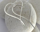 Large Silver Heart Earrings hammered from sterling silver, large Ophelia threaded earrings