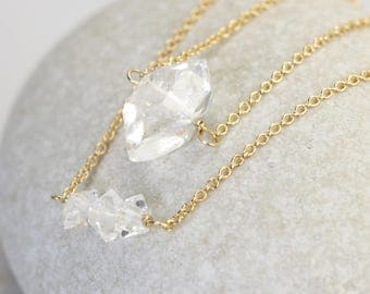 Mini herkimer diamond necklace in gold - crystal layering necklaces