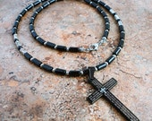 Mens Cross Necklace, Black Onyx, Mens Beaded Necklace with Prayer Cross Pendant, Jewelry for Men, Guys, Dad, Him