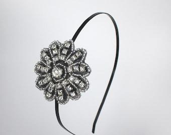 Rhinestone Headband with Black Accents