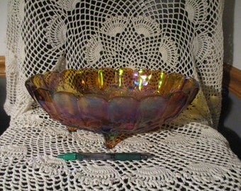 Vintage Marigold Carnival Oval Glass Fruit Bowl Footed Indiana Large  Iridescent Fruit Bowl