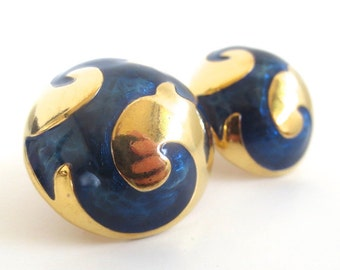 Vintage 80's Avon // Blue Swirl Dome Clip on Earrings
