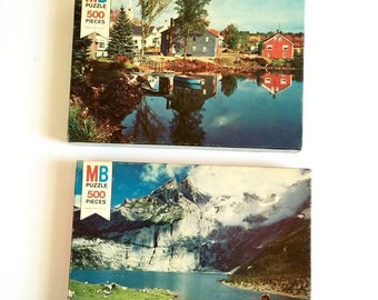 Shop Sale Vintage 1970s Puzzle / 70s Milton Bradley Coventry Series 500 Pc Jigsaw Puzzle SEALED / Switzerland and Autumn Lake - Your Choice