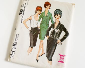 Vintage 1960s Womens Size 12 Skirt Suit and Top McCalls Sewing Pattern 7515 Complete / bust 32 waist 25