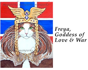 Cat Tote Bag, Freya goddess of love and war canvas bag red white blue flag