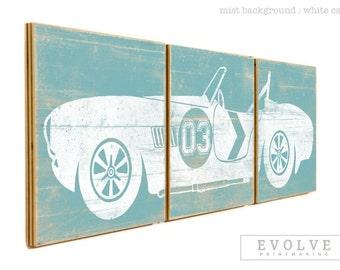 LARGE Vintage Race Car - Boys Room Decor - Baby Boy RaceCar Nursery Wall Art