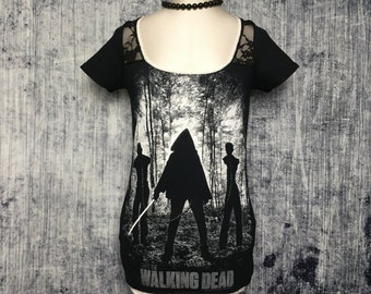 The Walking Dead Women's T-Shirt // Reconstructed T-Shirt // Size Small // Zombie Alternative Gothic Goth Horror