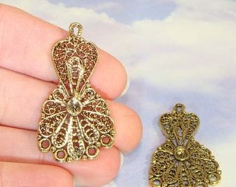 4 Chandelier Earring Parts HEARTS & Flowers Findings Jointed