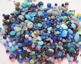 "Glass Pebbles Rocks, Beach Decor Glass Pebbles, Tiny Glass Rocks, Terrarium Rocks, Terrarium Pebbles- Blue,Yellow, Brown 3x4"" Bag - 3 Colors"