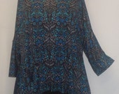Plus Size Clothing, Coco and Juan, Lagenlook Plus Size,  Vintage Floral Print Angled, Tunic Top One Size Bust  to 60 inches
