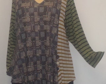 Tunic Plus Size,Plus Size Top, Asymmetric Tunic Top, Women Tunic, Coco and Juan,#2 Knit Size 2 (fits 3X,4X)  Bust 60 inches