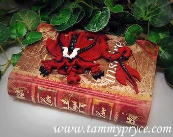 Ooak Polymer Clay Red & Black Sad Little Dragon on Live, Laugh, Love Book / Box #817 Home Decor Storage