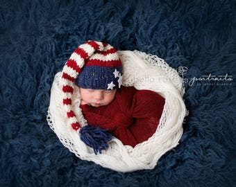 Striped Elf Hat Baby Boy Photo Prop Hand Knit Newborn Tailed Beanie Infant Stocking Cap Shower Gift Going Home Outfit Halloween Christmas