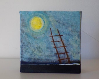Moon & Ladder - Small Original Painting