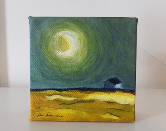 House Under The Moon - Small Original Painting