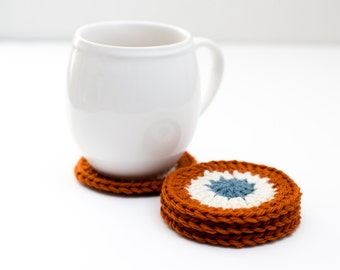 READY TO SHIP - Crocheted Wool Coasters, Orange Granny Square Coaster Set - Caledon Coasters