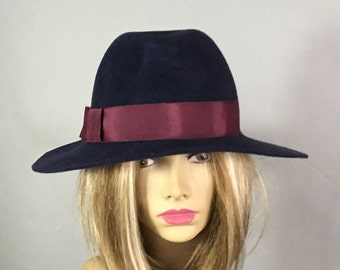 Katy,  Velour Fur Felt Fedora womens millinery hat,  Navy with Burgundy grosgrain ribbon