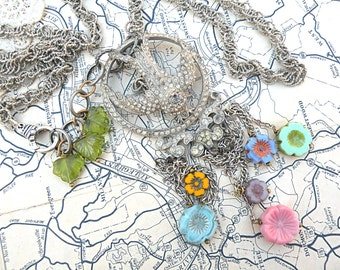 spring bird necklace assemblage flower tassel upcycled vintage jewelry chains czech floral