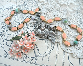 peach blossom necklace assemblage angel enamel flower romantic upcycled vintage jewelry cottage chic