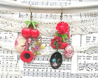 mismatched cherry earrings assemblage cameo recycled vintage jewelry red poppy floral fruit