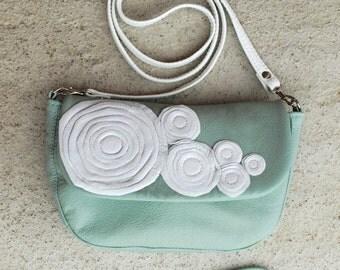 SALE Mint Leather messenger  bag, Leather Clutch Bag, Clutch Bag, Leather Purse, blossom Clutch Purse, spring finds
