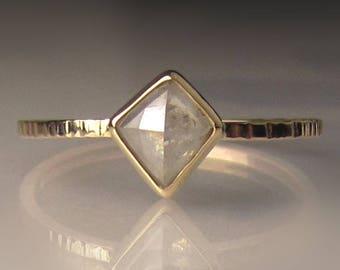 Rose Cut  Diamond Engagement Ring, Geometric Rose Cut Diamond Ring, 14k Yellow Gold Diamond Ring