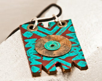 Gypsy Jewelry Bohemian Necklace - Tribal Native Jewellery - Turquoise OOAK