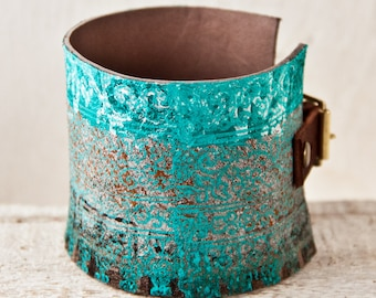 Leather Jewelry Cuff Bracelets for Women Turquoise Tattoo Cover