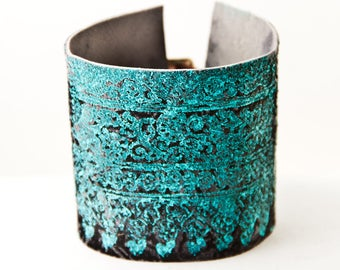 Turquoise Bracelet Southwest Jewelry Metal Buckle Cuff