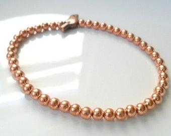 Copper Bracelet Tiny Bird Beaded Bracelet Woodland Earth Tones Elastic Bracelet Whimsical Gift for Her trendy teens Stackable bracelet
