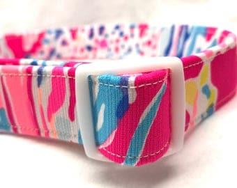 Lilly Pulitzer Fabric Dog Collar Pink Sunken Treasure Boy Girl