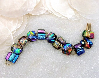 Dichroic Glass Bracelet,  Fused Glass Link Bracelet in Shimmering AZ Sunset Colors, Fiery Green, Orange, Gold, Rose Gold, Denim