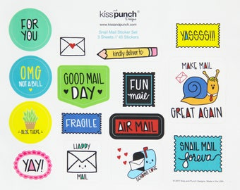 NEW! Funny Handlettered Flair Snail Mail Sticker Set - Part Deux | 3 Sheets | 45 Total Matte Stickers | kiss and punch